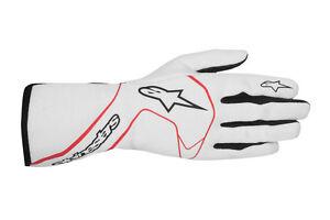 FIA ALPINESTARS TECH 1 RACE Handschuhe Tech1 Weiß Rot Tuning Rennen Fahr LAGER