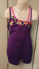 Girls 7/8 7 - 8 Purple and Multi Colors Gymnastic Dance Unitard