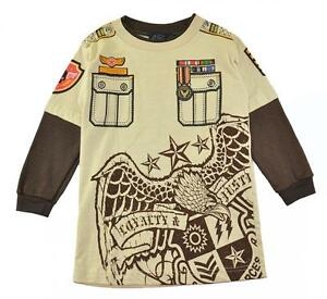 Urban Extreme Boys L/S Beige & Brown Graphic Design Top Size 4