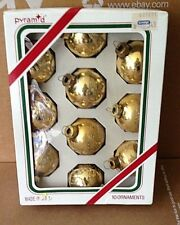 VINTAGE PYRAMID CHRISTMAS ORNAMENTS GOLD GLASS BALL with GLITTER STENCIL 1 3/4""
