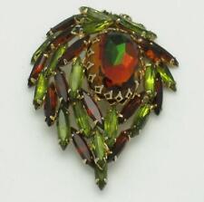 Gorgeous Vintage Amber Olivine Dimensional Spray Brooch Pin