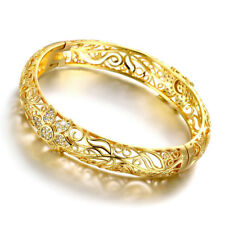 Wholesale 18K Yellow Gold Filled CZ Crystal Hollow Bangle