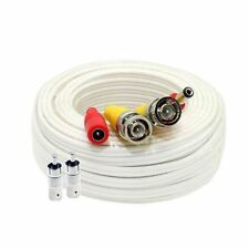 100 ft Siamese White Bnc Rca Video Power Cable for Cctv Security Camera System