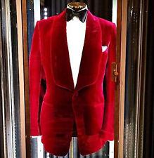 Mens Velvet Coat Blazer Jacket Red Designer Grooms Wedding Party Wear Casual