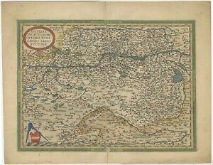 Antique Map of Austria and Hungary by Ortelius (c.1590)
