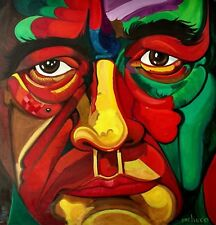 Wow 30in Ferdie Pacheco Self Portrait Painting Muhammad Ali Boxing Fight Doctor