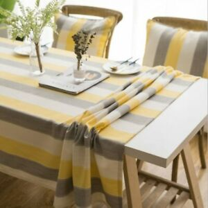 Plaid Decorative Linen Tablecloth with Tassel Waterproof Oilproof Rectangular