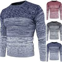 Men Knitted Crew Neck Pullover Jumper Winter Long Sleeve Casual Slim Sweater Top