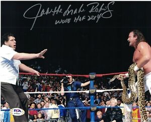 PSA/DNA Authentic Jake The Snake Roberts vs Andre The Giant Auto 8x10 Photo HOF