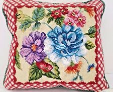 "15"" SQUARE HAND EMBROIDERED PILLOW WITH LOVELY FLOWERS - NEW - CORDING"