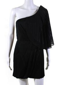 BCBG Max Azria Runway Womens Pleated One Shoulder Mini Dress Black Size 6