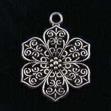 15pcs Tibetan Silver Flower Pendants Charms for Jewelry Making