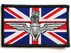 EMBROIDERED PARATROOPER PATCH Colour UK flag badge GB Army Military Airforce reg
