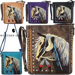 Western Style Cowgirl Horse Cross Body Handbag Women Purse Single Shoulder Bag