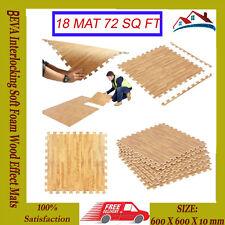 18 (72 SQ FT)Interlocking EVA WoodEffect Soft Foam Mats Gym KidsPlay Floor Tiles