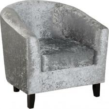 NEW TUB CHAIR IN SILVER CRUSHED VELVET FABRIC WITH WOODEN LEGS GREAT MODERN LOOK