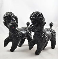 2X Caniche Negro Hueco Plástico Vintage Juguete DDR Rda Perro Poodle Dog Toy