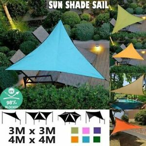 Waterproof Sun Shade Sail Outdoor Top Canopy Patio L/M/S Size Triangle Square UK