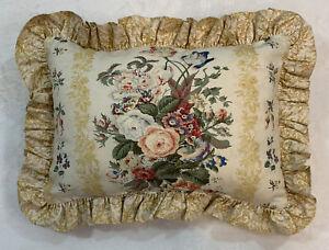 """WAVERLY Vintage Designer Lumbar Rectangle Pillow 19 X 15"""" Gold Yellow Floral"""