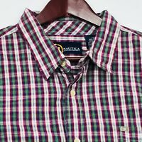 Nautica Mens Shirt Size XXL 2XL Short Sleeve Button Front Plaid 100% Cotton 19