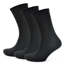 Mens Womens Ladies Plain Black Casual Everyday Work Socks Uk Size 4-7 & 7-11