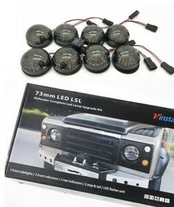 LAND ROVER DEFENDER 90 / 110 / 130 COMPLETE LED UPGRADE LAMP KIT 73 MM SMOKED