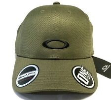 OAKLEY TECH HAT Dark Brush Olive w/ Black Icon One Touch SNAPX Adjustable Cap