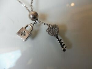 Beautiful, old Chain, Necklace With 2 Trailers: Castle U. Key, 925Silber