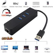 3 Port USB 3.0 Hub 10/100/1000Mbps Gigabit Lan RJ45 Network Adapter Converter