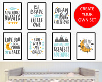 Grey Blue and Gold Nursery Prints Wall Art Posters Baby Boy Girl Bedroom Quotes