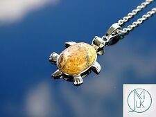 Picture Jasper Turtle Manmade Gemstone Pendant Necklace 50cm Healing Stone