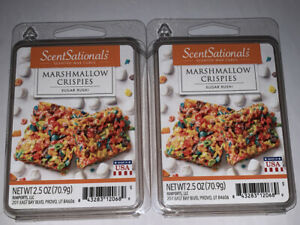 ScentSationals MARSHMALLOW CRISPIES Scented WAX CUBES / 2 Packs / 2.5 Oz Each