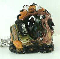 "Vintage Halloween Ceramic Haunted House Ghost Light CREEPY Mummy Village 7"""