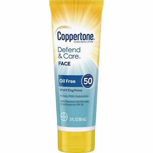 Coppertone Sunscreen Defend & Care FACE SPF 50 OIL FREE 3 oz FREE SHIPPING USA