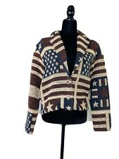 Carolina ColoUrs USA Flag WomenKnit Blazer Vintage Stars & Stripes Cardigan Sz S