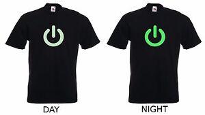 NEW Glow In The Dark Power On Print Gadget Geek Mens Premium Cotton T-Shirt