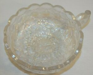 VINTAGE IMPERIAL GLASS PANSY NAPPY BOWL WHITE CARNIVAL GLASS QUILTED DIAMOND