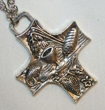Handsome Truncated Bread Of Life Silvertne Chalice Grapes Maltese Cross Necklace
