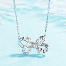 Gorgeous Bow-knot 925 Silver Necklace Pendant Women White Sapphire Jewlery Gift