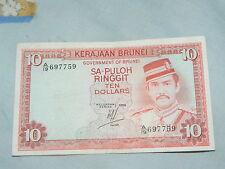 Brunei $10 , red & blue (1986)