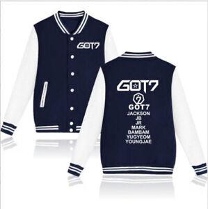 kpop Got7 Baseball Uniform Jacket Coat Sweatshirt Harajuku Bambam Jackson Mark