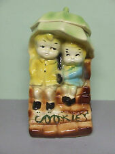 "Vintage American Bisque ""Sweethearts""/Umbrella Kids Pottery Cookie Jar (USA 739)"