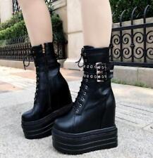 13CM Womens Platform Hidden Super High Wedge Heel Ankle Boots Zipper Shoes Zsell