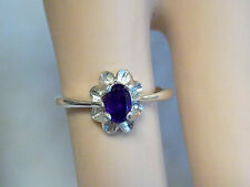 NATURAL .50ct deep purple amethyst 925 sterling silver ring size 7 USA