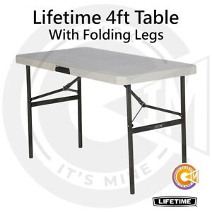 Lifetime 4ft Commercial Grade Table With Folding Legs Compact Easy Storage Carry