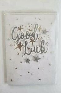 GOOD LUCK CARD  HAND MADE EMBOSSED CARD WITH DIAMONTE DETAIL  16 X 18 CMS