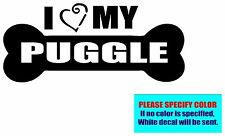 "I Love My Puggle #019 Vinyl decal sticker Graphic Die Cut Car Truck 7"""