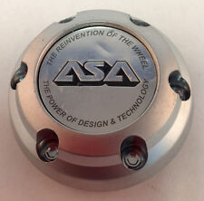 "Single ASA JH6 Wheel Center Cap Machine Chrome Black Logo 2.75"" Diameter ASA8"