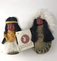 Vtg Set Of 2 Native American Indian Dolls By ART HURON Made In Canada