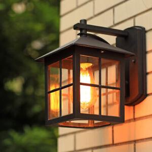 Retro Black Metal Lantern Clear Glass Square Outdoor Wall Lights Fixtures Garden